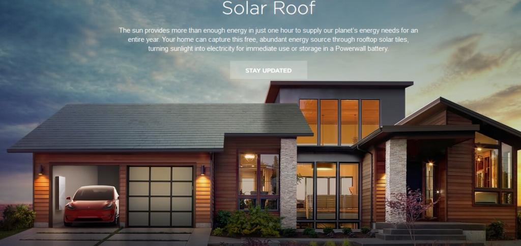 """Webseite des """"Solar Roof"""" von TESLA"""