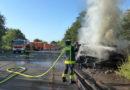 Brand von abgelegten Bahnschwellern