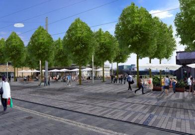 Neue Bäume, Beleuchtung, Bänke – Baustelle Friedrichsplatz/Königsstraße auf der Zielgeraden